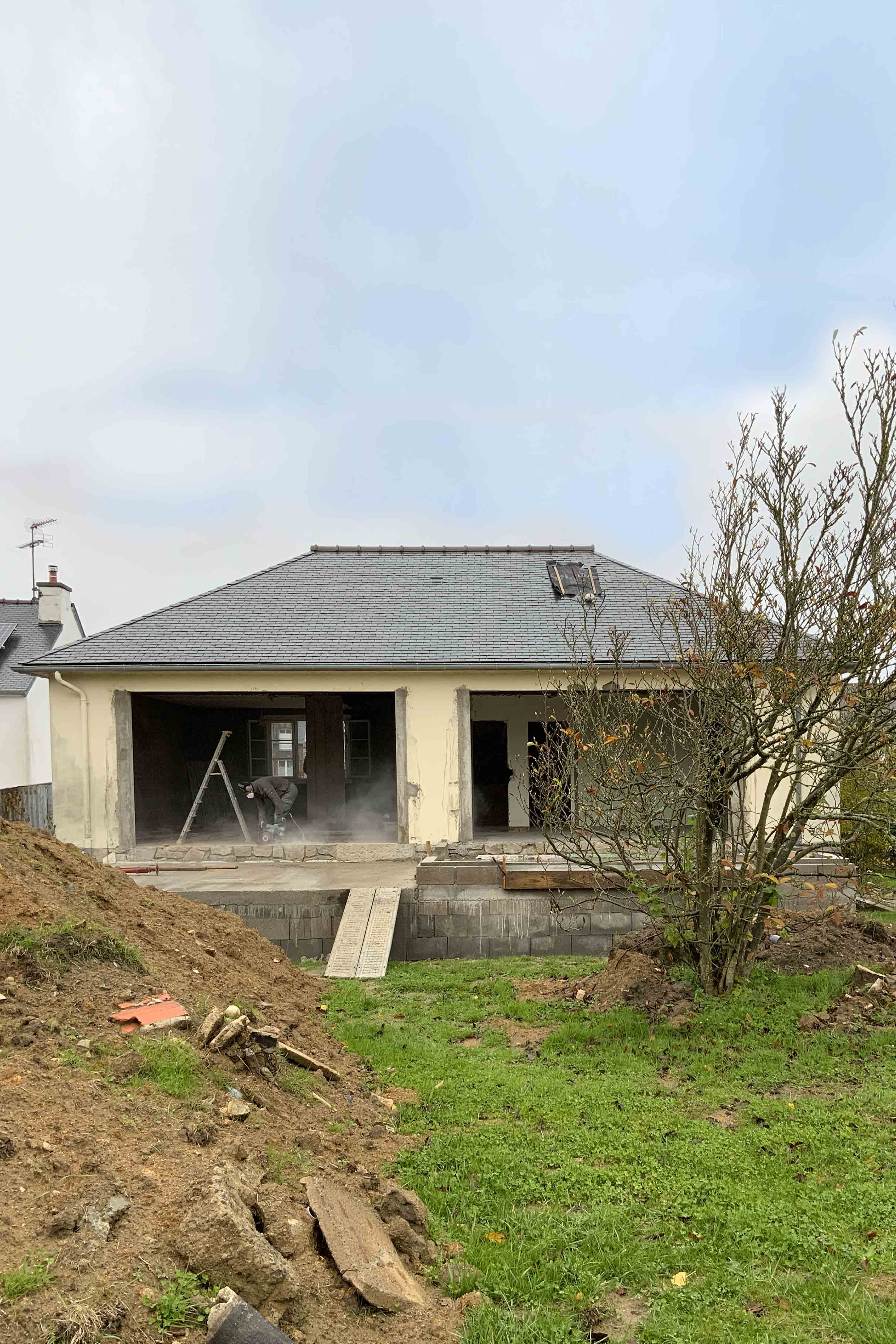 extension d'une maison (en chantier)